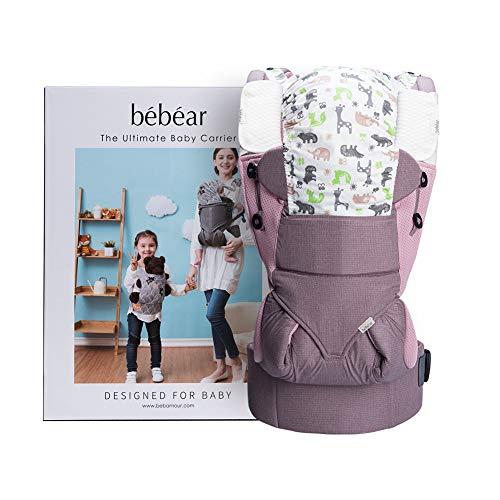 Bebamour Babytrage Sling 3 in 1 Ergonomischer Babytrage Rucksack für Neugeborene Atmungsaktive und weiche Babykette für Säuglinge und Kleinkinder (Pink)