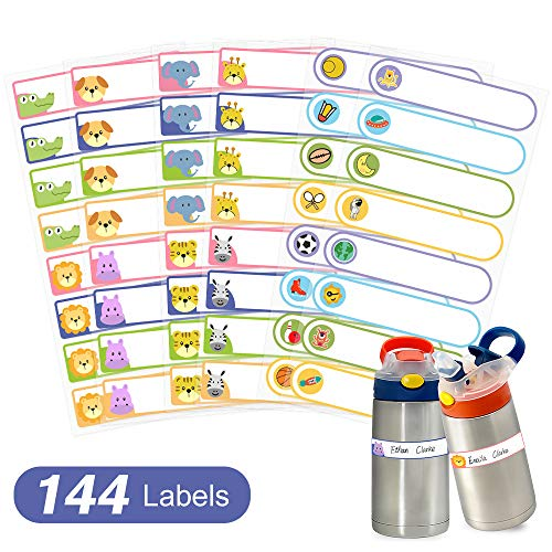 Baby Bottle Labels Waterproof, Self-Laminating Write-On Name Labels for Daycare School Essentials (144 Ultra Sticky Stickers), BPA-Free!