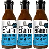 G Hughes Sugar Free Caribbean Jerk Wing Sauce (3 pack) | Jerk Sauce with Bold Island Flavors that's Gluten-Free, Low Carb, Vegan, Low Fat | Fits Reduced Sugar Lifestyles, Keto Friendly