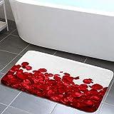 Red Rose Petals Bathroom Rug, Red Rose Flowers on White Background Bath Mat, Flannel Non Slip Mat Rug 17X29IN Valentines Day Decor Kitchen Rugs Shower Bathtub Doormats