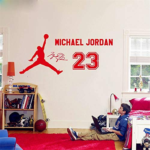 pegatinas decorativas pared Michael Jordan 23 Sticker Niños Baloncesto Niños Ídolo Póster Para Niños Dormitorio Sala de estar