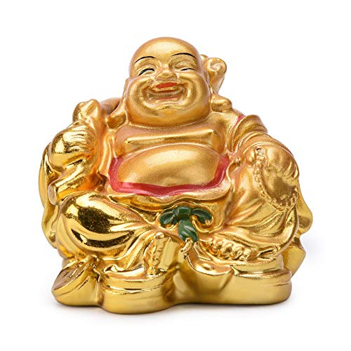 Resin Feng Shui Golden Laughing Sitting Buddha Colorful Statue Wealth Luck Home Desk Decoration Gift 2.2'' (H) TQZDBS63