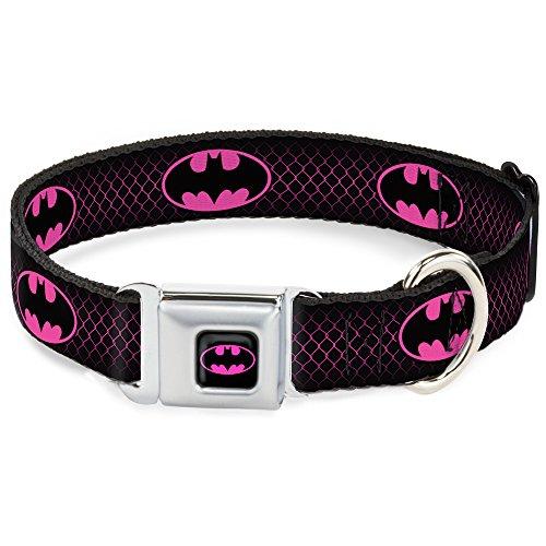 "Buckle-Down Dog Collar Seatbelt Batman Shield Chainlink Black Hot Pink, Multi Color, 1.5"" Wide - Fits 16-23"" Neck - Medium (DC-SB-BMAE-WBM163-1.5-M)"