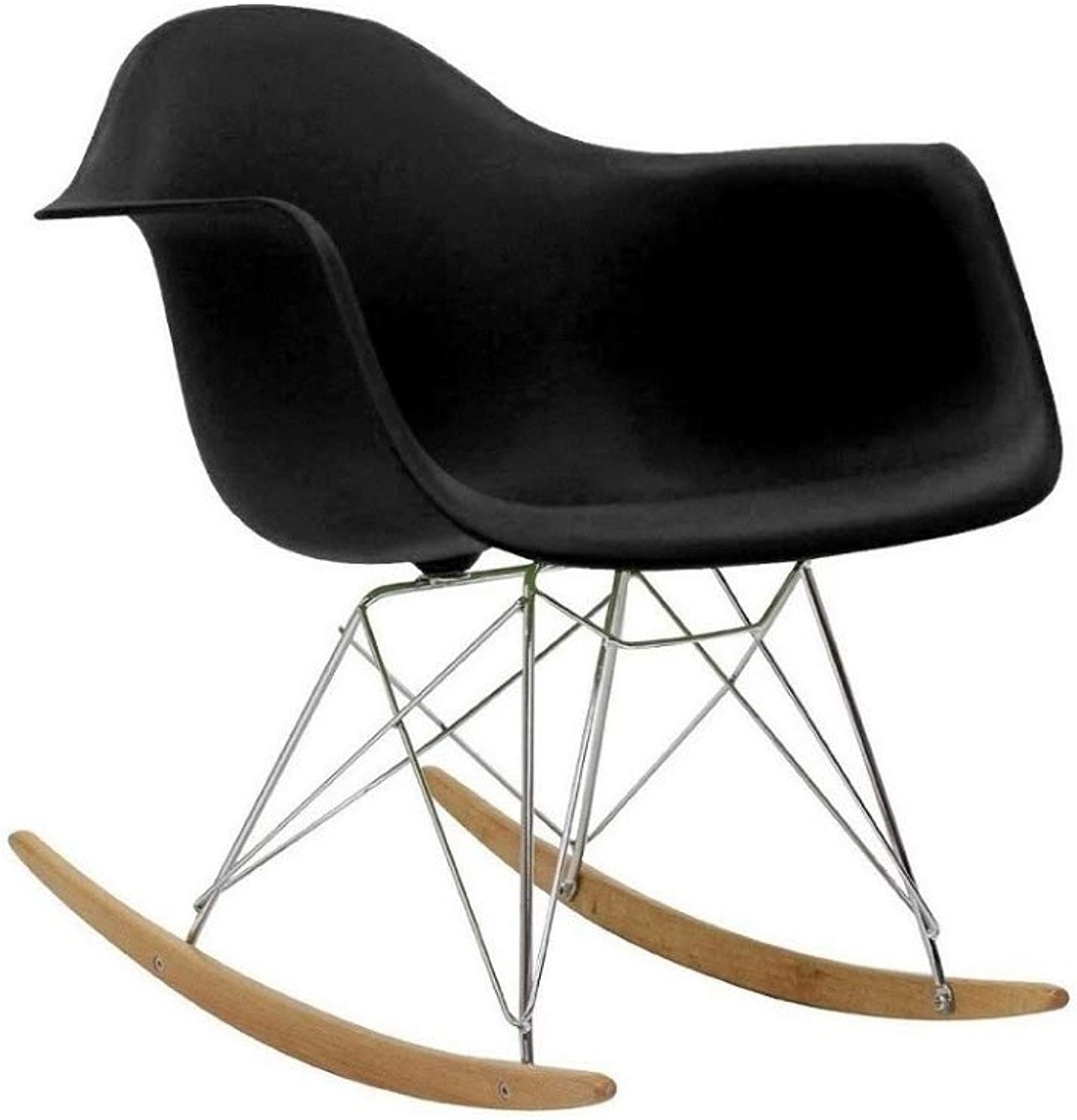 Take Me Home Furniture Eiffel Style Rocking Chair with Chrome Legs, Black, Dining Chair