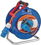 Brennenstuhl CEE-Kabeltrommel mit 20m Kabel in orange (CEE Kabeltrommel mit CEE-Winkelkupplung inkl. Schutzkontakt-Kombisteckdose + CEE-Stecker, für den Einsatz im Außenbereich, Made in Germany)