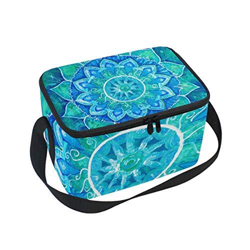 Cajas de almuerzo para niños, diseño de mandala, color azul y verde