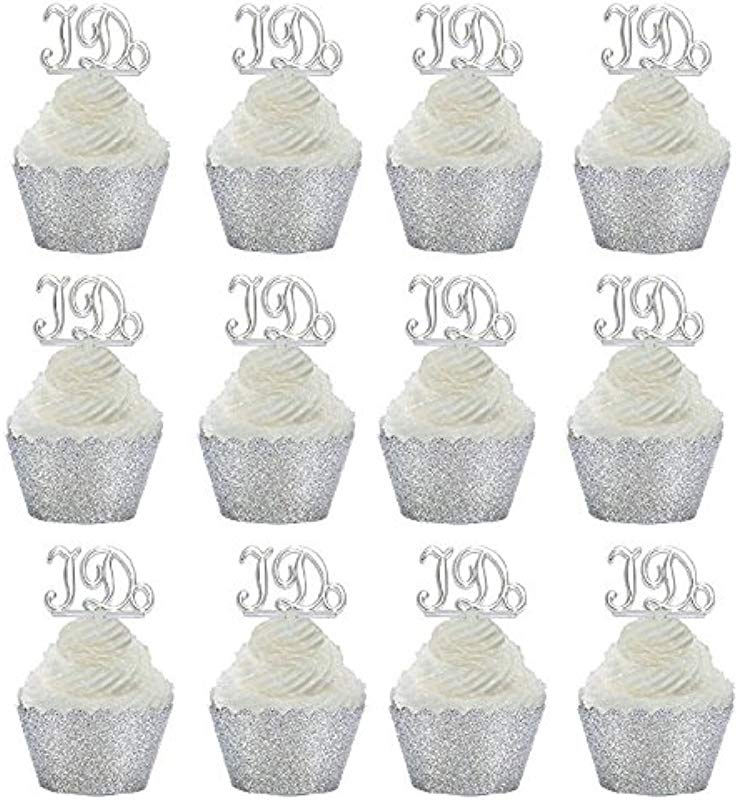 24pk Wedding Bridal Shower Anniversary Cupcake Toppers W Glitter Wrappers Silver Wrappers I Do Picks