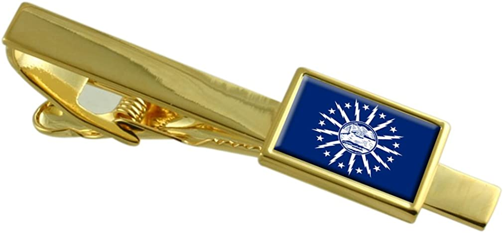 Buffalo City USA Max 63% OFF Ranking TOP6 Flag Gold-tone Engraved Clip Personalised Tie