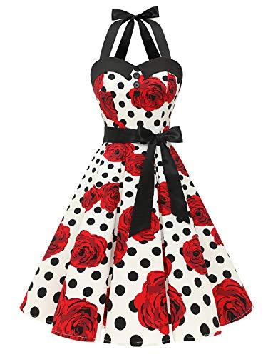 Dressystar Damen Vintage 1950er Retro Cocktailkleid Rockabilly Neckholder Faltenrock Swing Kleider Weiß Schwarz Rose M