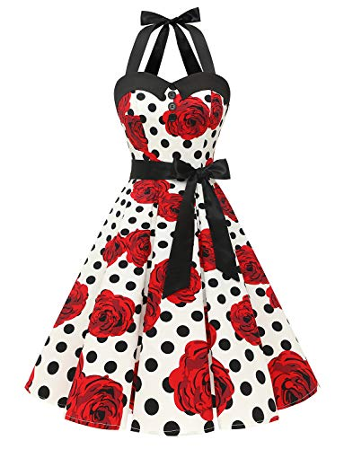 Dressystar Vintage Polka Dot Retro Cocktail Prom Dresses 50's 60's Rockabilly Bandage White Black Rose XXL