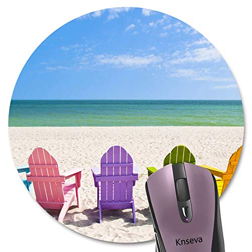 Knseva Adirondack Beach Chairs on a Sun Beach Holiday Vacation Travel House Round Mouse Pad Rainbow Colors Circular Mouse Pads