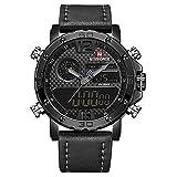 Relojes para Hombre a Marca Hombres Relojes Deportivos de Cuero Reloj Digital de Cuarzo LED para Hombres Reloj Militar Resistente al Agua