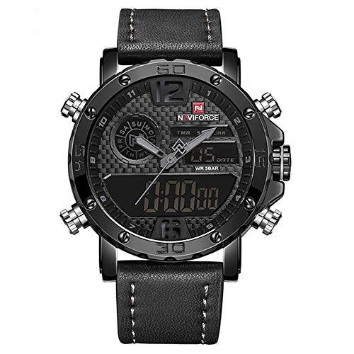 Relojes para Hombre a Marca Hombres Relojes Deportivos de Cuero Relojdigital de Cuarzo LED para Hombres Relojmilitar Resistente al Agua