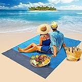 Coperta Spiaggia Parkarma Tappetino da Picnic Portatile Anti Sabbia Tappetino da Spiaggia con 4 Chiodi Fissi Fixed per Picnic/Spiaggia/Viaggi e Altro (200 * 140cm)