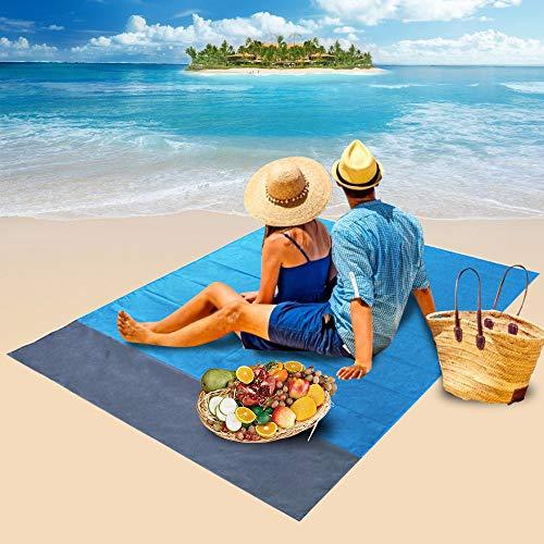 Sandfreie Strandmatte Parkarma 210 * 200cm Wasserdicht &Sandabweisend mit 4 Heringe Outdoor Picknickdecke Einfach zu Lagern Picknick-Matte für Outdoor Garden/Park/Beach
