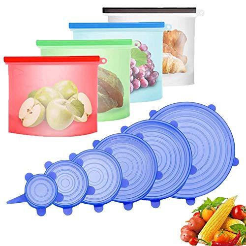 Bolsas de Silicona Reutilizables y Tapas Silicona Ajustables, 4 Piezas Bolsas Congelar para Almacenamiento + 6 Piezas Tapas de Silicona Elásticas - Sin BPA, para Verduras, Frutas, Carne, Bocadillos