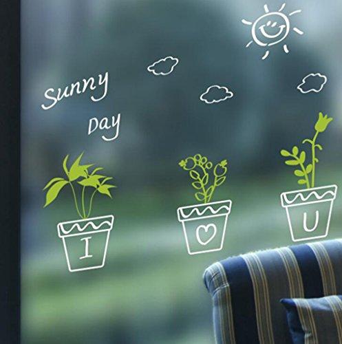 Lozse Topfpflanzen Windows Glas Wandaufkleber Aufkleber