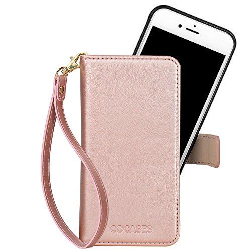 COCASES Kompatibel mit iPhone 6S Plus / 6 Plus Hülle, abnehmbare Ledertasche mit Magnetverschluss, Geldbeutel Style mit Kartenfach (Rosa Gold)