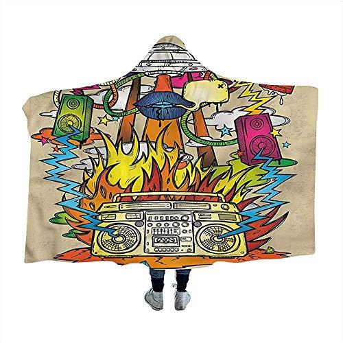 Biubiu-Shop moderne kunst draagbaar capuchon kap Poncho Hippie Funk Trippy gooi deken capuchon mantel voor volwassenen en kinderen 60x50 inch