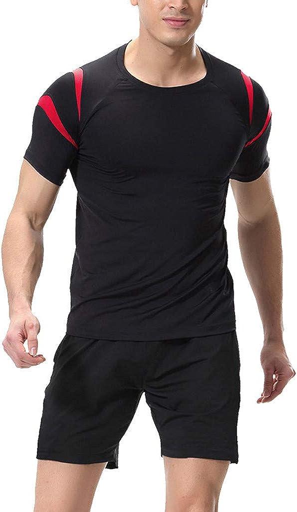 Celucke Herren Laufshirts Laufshorts 2 St/ücke Sport Anzug Kompressionsshirt Performance T-Shirt Sporthosen M/änner Kurz Kompressionsshorts Atmungsaktiv Stretch Trainingsshorts f/ür Fitness