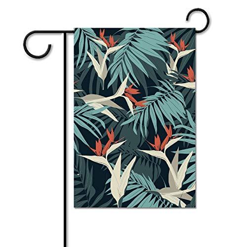 Drapeau de jardin sans marque - Drapeau de bienvenue - Drapeau de jardin - Plage - Décoration d'extérieur - Feuilles vertes tropicales - Oiseaux blancs - Printemps/été