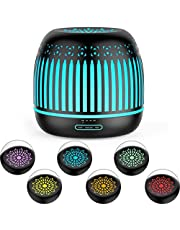 ASAKUKI 500ml Metal Essential Oil Diffuser, Premium 5 In 1 Ultrasonic Aromatherapy Scented Oil Diffuser Vaporizer Humidifier, Timer and Waterless Auto-Off, 7 LED Light Colors