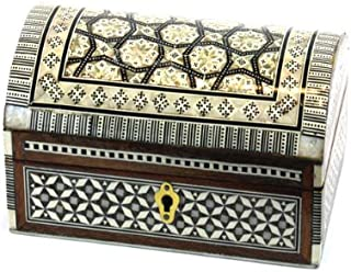Large Handcrafted Arched Genuine Mother Pearl Decorative Box with Lock (9.5