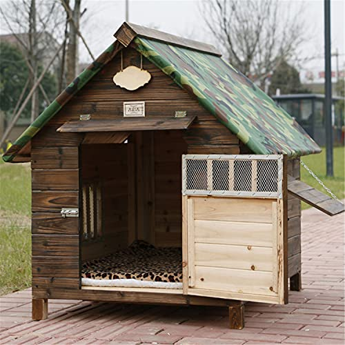 JHKGY Caseta De Madera para Perros - Al Aire Libre De La Cabaña De Troncos del Animal Doméstico,con Solapa De Puerta Placa Inferior Extraíble,para Animales Pequeños Medianos Grandes,M