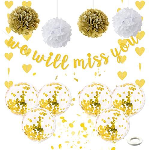 Wir werden dich vermissen Partydekorationen - Abschiedsbanner für den Ruhestand von Erwachsenen, der Partydekorationen hinterlässt Bobo-Luftballons