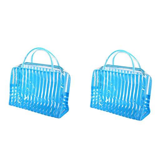 Hacoly Rayure Transparent Trousses à Maquillage PVC Transparent Trousses à Maquillage Sac pour Produits de Toilette Cosmétiques Produits de Soins de la Peau(2PCS)-Bleu