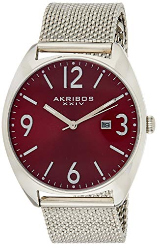 Akribos XXIV Men's Watch – Fashionable Stainless Steel Mesh Bracelet Red Sunburst Dial and Date Window – Tonneau Analog Quartz – AK1026RD