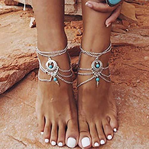 Fashband Silver Turquoise Tobilleras Vintage Summer Layered Tobillo Borla Pulsera Boho Jewelry Beach Tobillera Cadena Ajustable para Mujeres Niñas Amigos