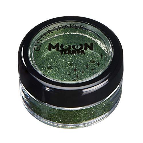 Moon Terror - Brillantina para el Rostro y el Cuerpo para Maquillaje de Halloween - 5g - ¡Añade fácilmente destellos a tu look de terror como un profesional! - Verde Zombi
