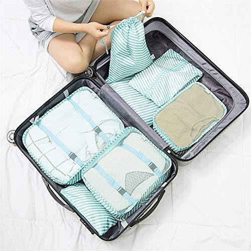 Cubos de Embalaje de Viaje Conjunto De 7pcs embalaje viaje Cubos organizadores de equipaje Compresión Las bolsas impermeables de ropa bolsas de almacenamiento Almacenaje del Recorrido del Bolso del Eq