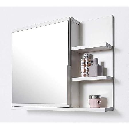 DOMTECH Armario de baño con espejo y estantes, color blanco