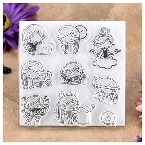 Kwan Crafts Daily Life Girl Yoga Sing Work Out Eat Clear Stamps para hacer tarjetas decoración y DIY Scrapbooking