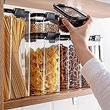 Taoke 2/4 recipientes transparentes de plástico para alimentos, caja de almacenamiento de cocina apilable en seco, recipientes sellados para fideos de espagueti, 700 ml 8 bayfa (Color: 4 piezas 1800 ml)