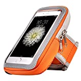 Orange Outdoor Running Sports Gym Zipper Armband for iPhone