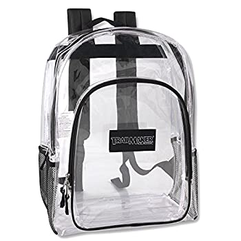 Trailmaker Deluxe Clear Backpack With Reinforced Straps For School Security and Sporting