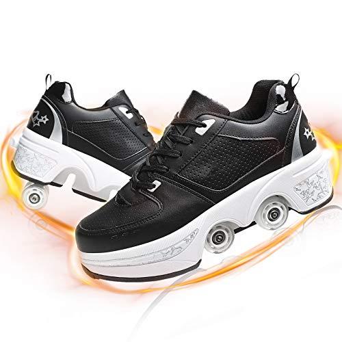 HealHeaters Mujer 2 En 1 Multiusos Patines De Deformación Zapatos con 4 Ruedas Ajustable Quad Roller Boots Safe Durable Retráctil Zapatillas Automáticos Adecuados para Adulto,Black+White,40
