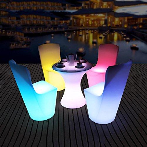 XINYE LED Plastique Imperméable 16 Couleur en changeant Rechargeable Table et Chaise Ensemble avec Télécommande