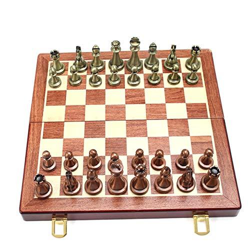 Juego de ajedrez Szaerfa, ajedrez de Lujo de Metal, ajedrez de aleación Retro, Juego de Mesa para Adultos, Caja de Madera portátil, Juego de ajedrez Plegable de Almacenamiento