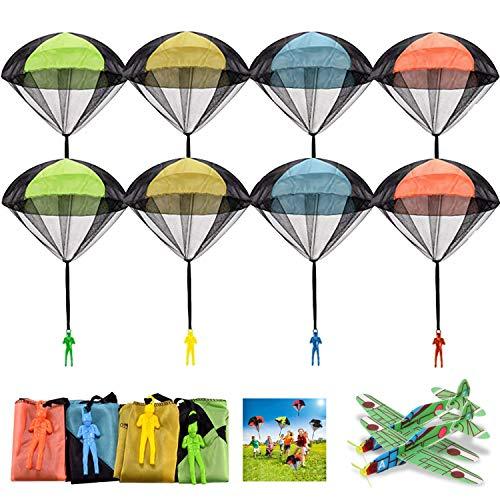 FUNVCE Fallschirm Spielzeug Kinder, 8 Stück Fallschirmspringer und 2 Foam Segelflugzeug Hand werfen Fallschirm Outdoor Flugspielzeug Geschenk für Kinder, Wurf Parachute Spiele für Draußen