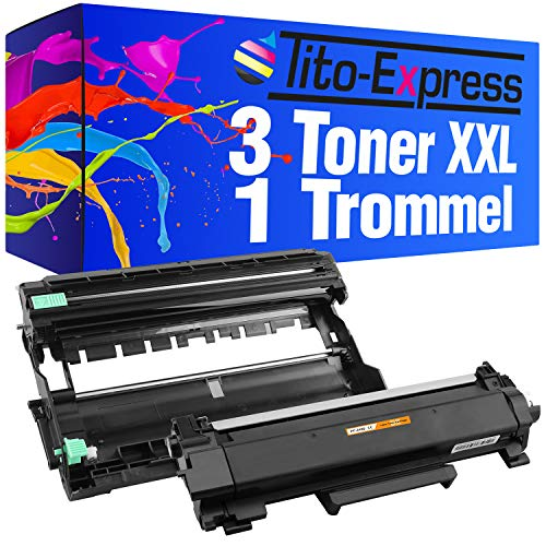 Tito-Express Platinum Serie 3 Toners & 1 Trommel XXL compatibel met Brother TN-2420 & DR-2400 MFC-L2730DW MFC-L2750DW DCP-L2530DW MFC-L2735DW DCP-L2537DW DCP-L2550DN MFC-L2710DN MFC-L2710DW