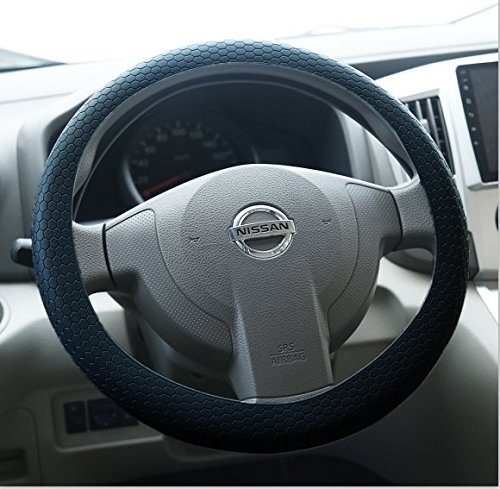 Lage Lenkradbezug für Auto Silikon Universal Durchmesser 34cm Lenkrad FIAT Nissan Alfa Romeo Peugeot Renault Audi Ford Opel Citroen Hyundai Schwarz