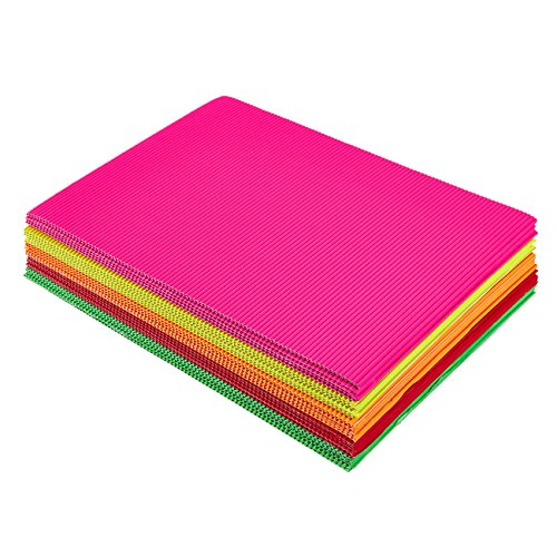 Láminas de Cartón Ondulado para Manualidades, 21cm x 30 cm, Paquete de 30, Colores variados