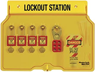 Master Lock Lockout Tagout Station, Covered Group Lockout Station, Includes 4 Zenex Padlocks, 1482BP410