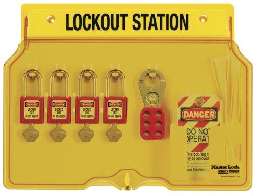 Master Lock Lockout Tagout Station, Covered Group Lockout Station, Includes 4  Zenex Padlocks, 1482BP410