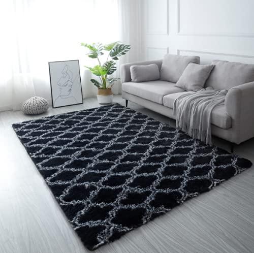 LYKEJI Tappeto a pelo lungo per soggiorno, tappeto moderno antiscivolo super morbido a pelo lungo, per soggiorno, camera da letto, tappetini con motivo bambini (nero, 80X160CM)
