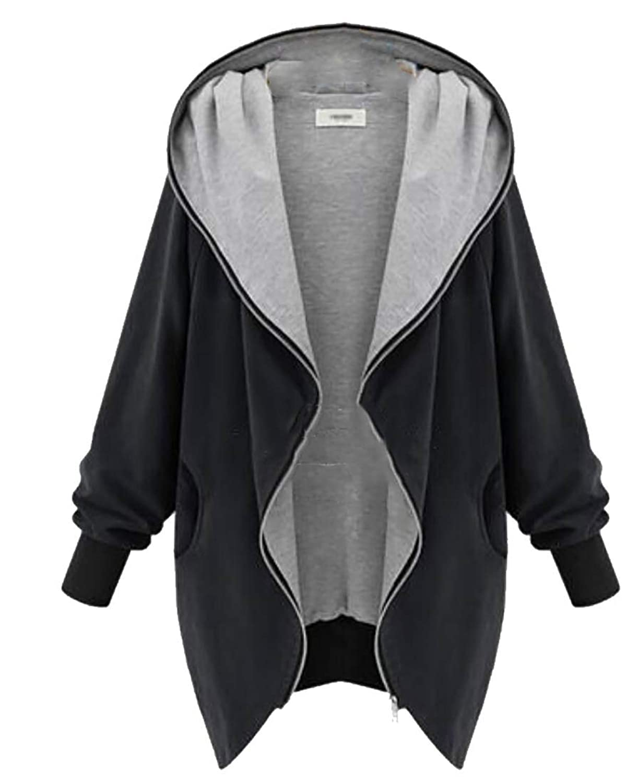 maweisong 女性のコートフードジップアップ軽量ウインドブレーカージャケット